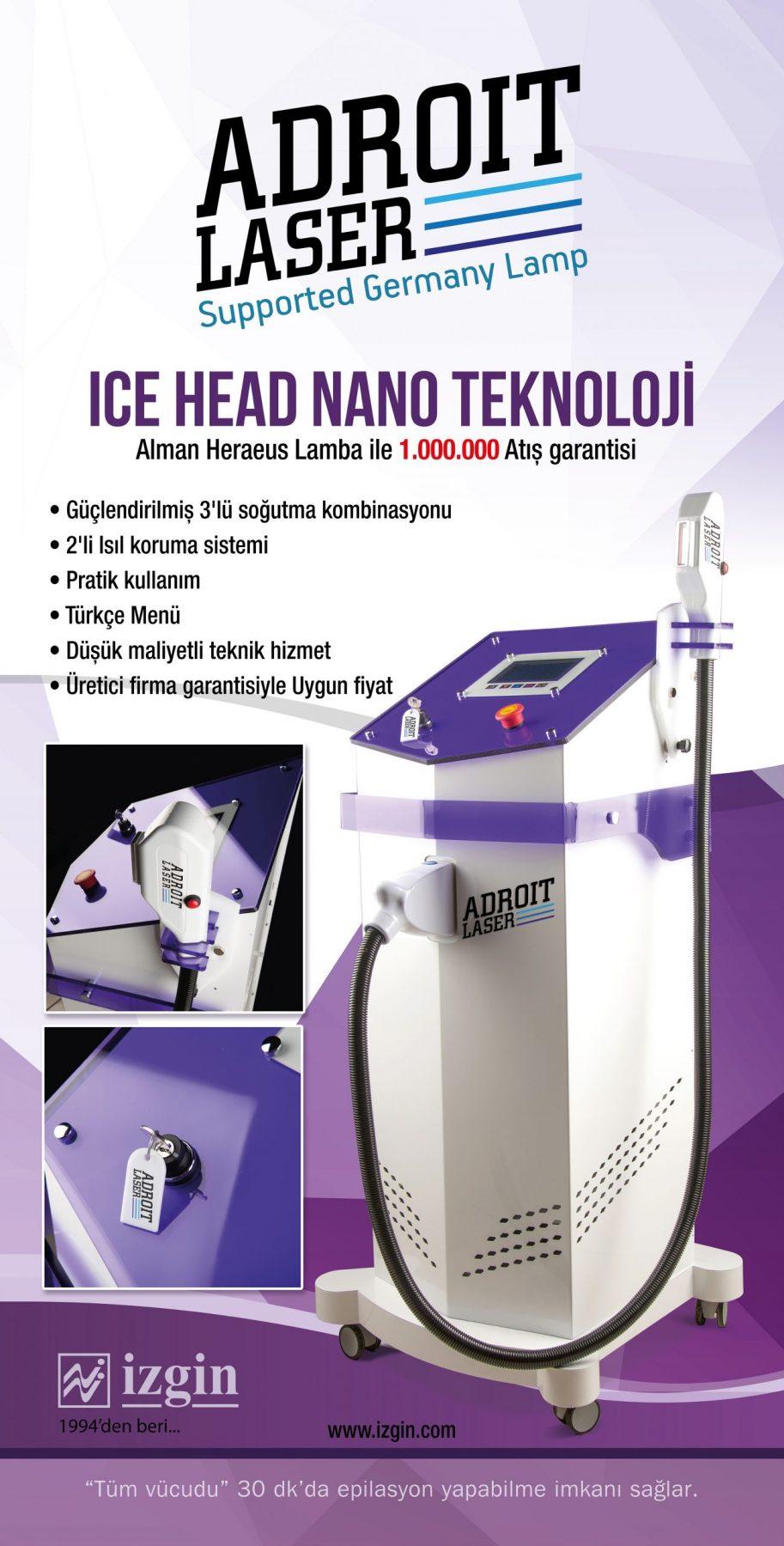 Buz başlıklı lazer epilasyon cihazı